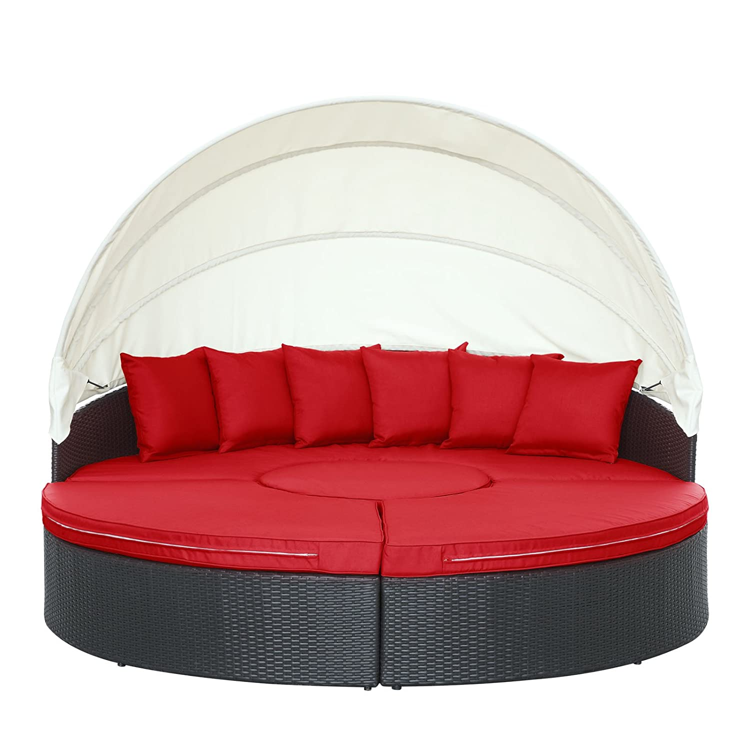 Amazon.com  Modway Quest Circular Outdoor Wicker Rattan Patio Daybed with Canopy in Espresso Red  Garden u0026 Outdoor  sc 1 st  Amazon.com & Amazon.com : Modway Quest Circular Outdoor Wicker Rattan Patio ...