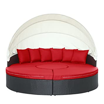 lexmod quest circular outdoor wicker rattan patio daybed with canopy espresso red
