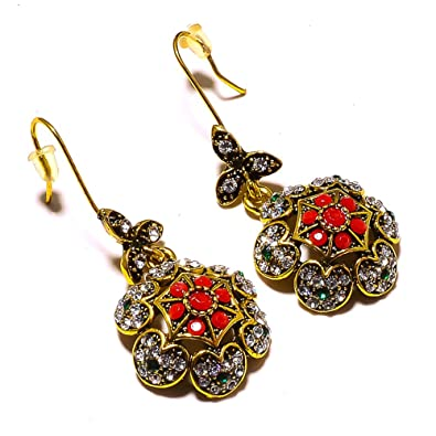 Handmade Jewelry Dyed Emerald Brass Metal Earring 1.5 Turkish Style Red Dyed Ruby