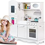 Merax Ultimate Large Kitchen Cooking Pretend Toddler Playset, White (White Color)