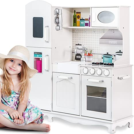 Merax Kids Kitchen Playsets - Pretend Cooking Playset for Toddlers【Fun Bake  Oven】 (White-2019)