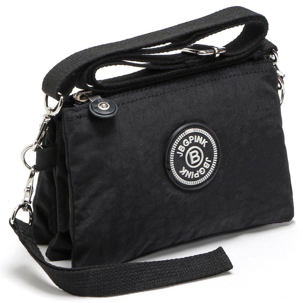 3 Layer Zipper Nylon Wallets for Women Wristlet Bag Purse Waterproof Cell Phone Pouch Handbag(B-Black)