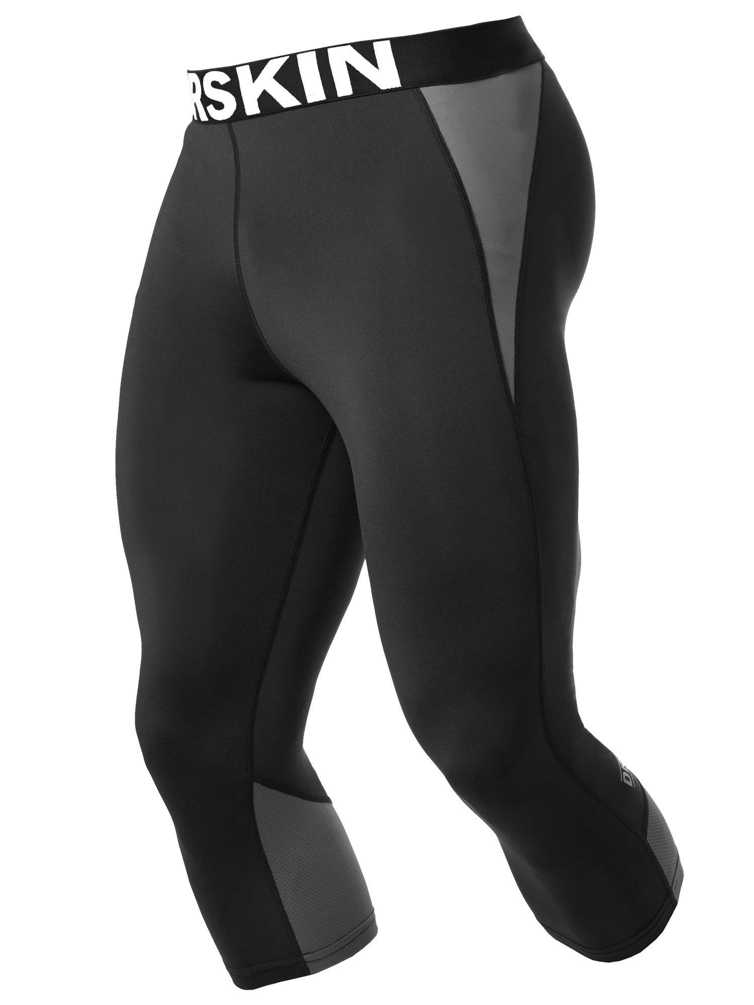 DRSKIN Men's 3/4 Compression Tight Pants Base Under Layer Running Shorts Warm Cool Dry (CA NP B-G817, S)