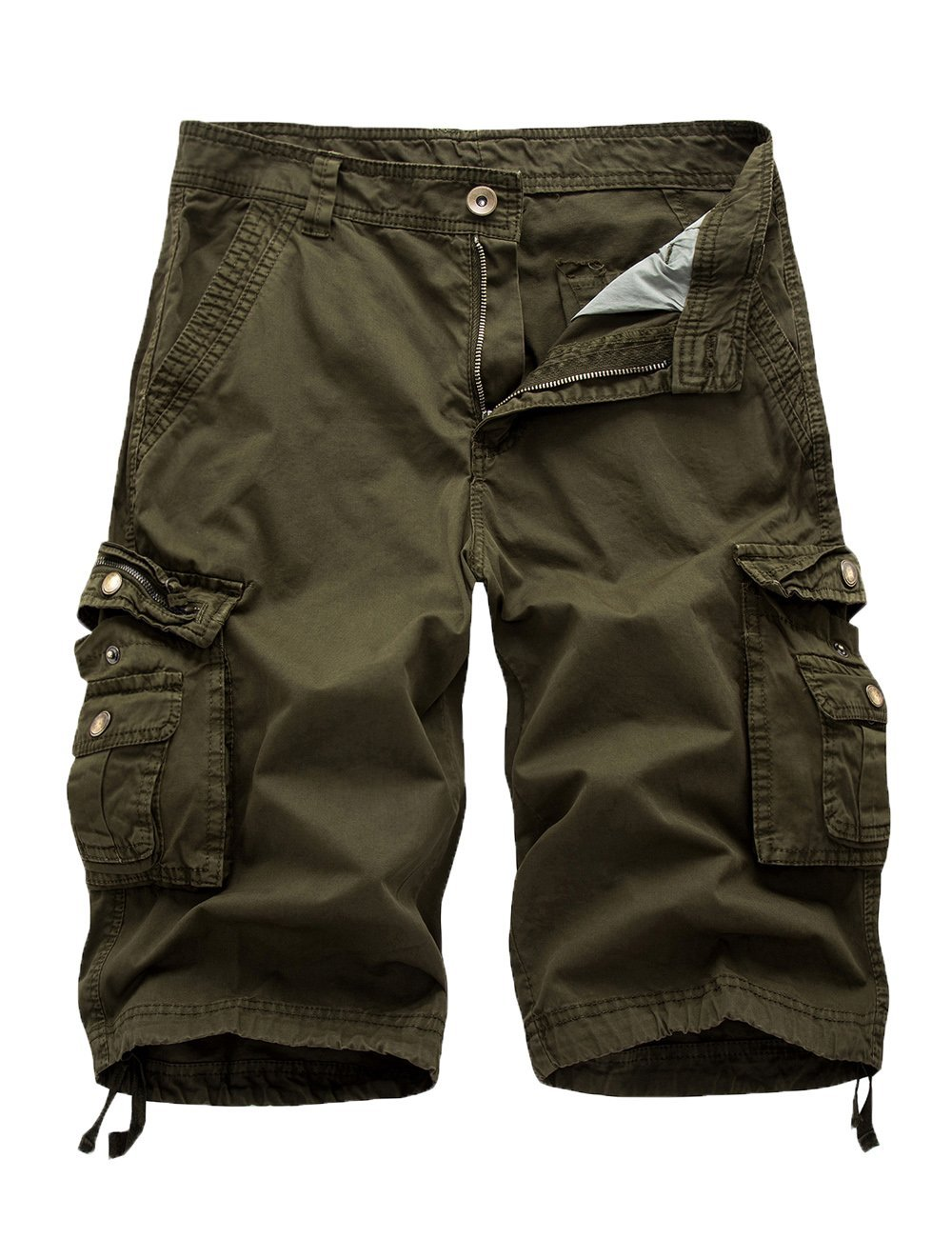 FOURSTEEDS Womens Casual Loose Fit Multi-Pockets Camouflage Twill Bermuda Cargo Shorts Green US 12