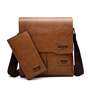 765e9c05f6a4 Image Unavailable. Image not available for. Color  JEEP BULUO Messenger Bag  2-Set Men PU Leather Shoulder Bags Business Crossbody Casual Bags