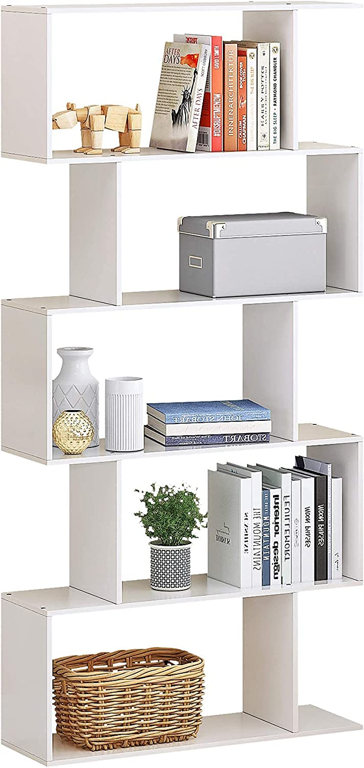 HOMEFORT Wood Geometric Bookshelf,5-Tier Modern Bookcase, Open Shelf and Room Divider, Freestanding Display Storage Organizer, Decorative Shelving Unit for Home Office and Living Room (White)