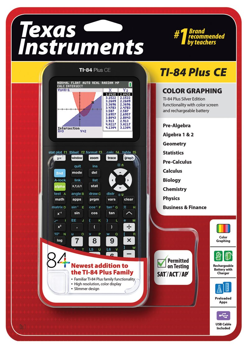Texas Instruments Ti-84 Plus CE Calcolatrice scientifica, nero 84PLCE/TBL/1L1