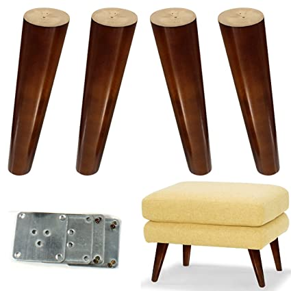 Wood Sofa Legs 8 Inch Pack Of 4 Walnut Finished Furniture Feet Replacement  Legs Universal For