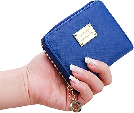 Womens Button Purse Wallet Ladies Leather Folding Zip Coins Cards Holder Clutch