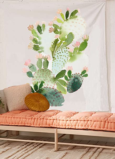 "Cactus Watercolor Wall Tapestry Fabric Wallpaper Home Decor,60""x 80"",Twin Size"