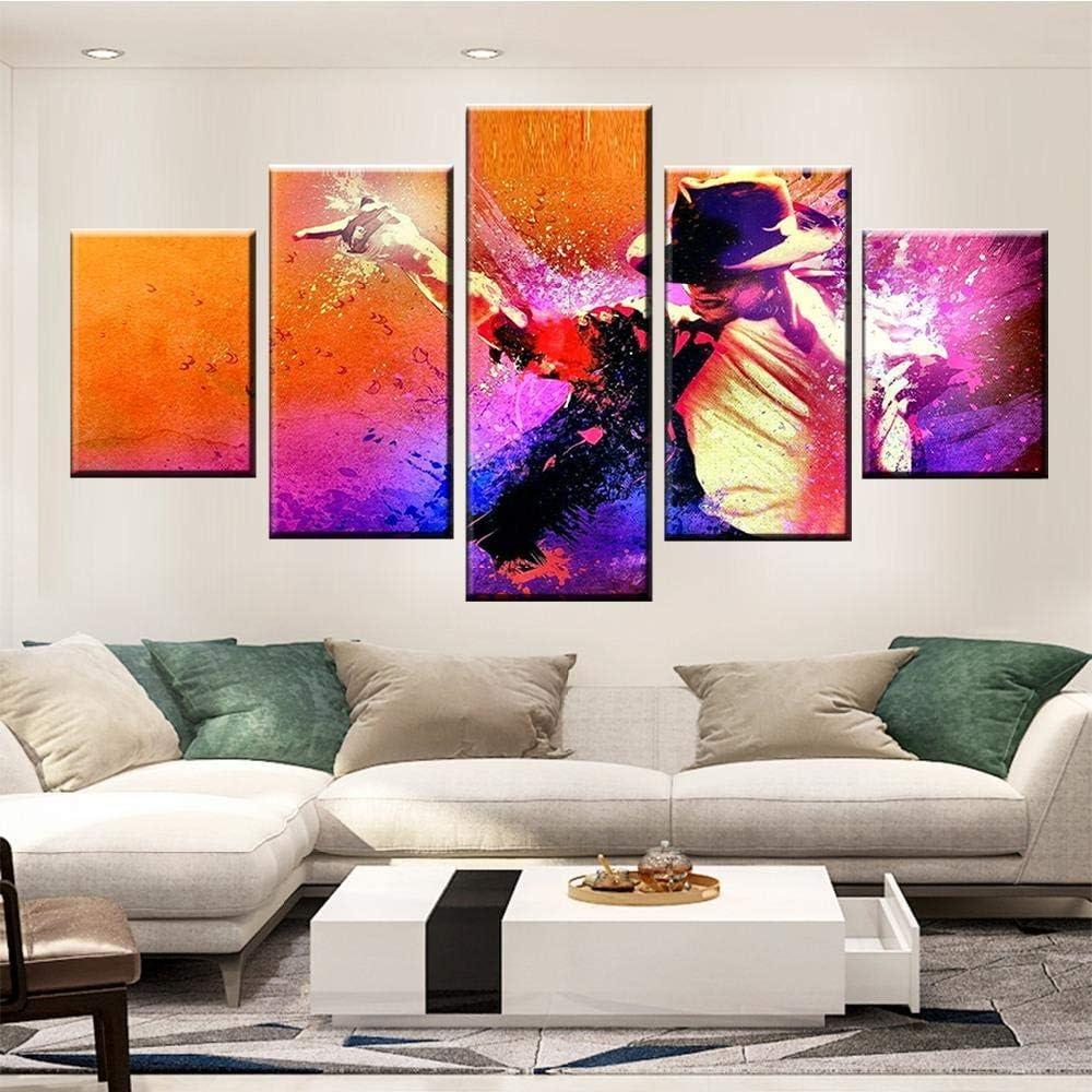 SZQY Impresión 5 Piezas Pintura Paneles Múltiples Moderno Abstracto Colores Cuadro Lienzo Diseño De La Naturaleza Pintura sobre Lienzo 5 Piezas Michael Jackson