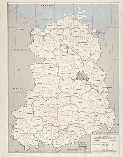 Amazon Com Vintage 1958 Map Of East Germany Administrative