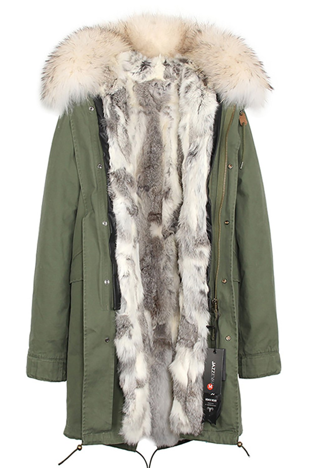 S.ROMZA Women Real Rabbit Fur Parka Upscale Long Hooded Coat Detachable Jacket Real Fur Liner (Large, Army Green&Yellow&Grey)