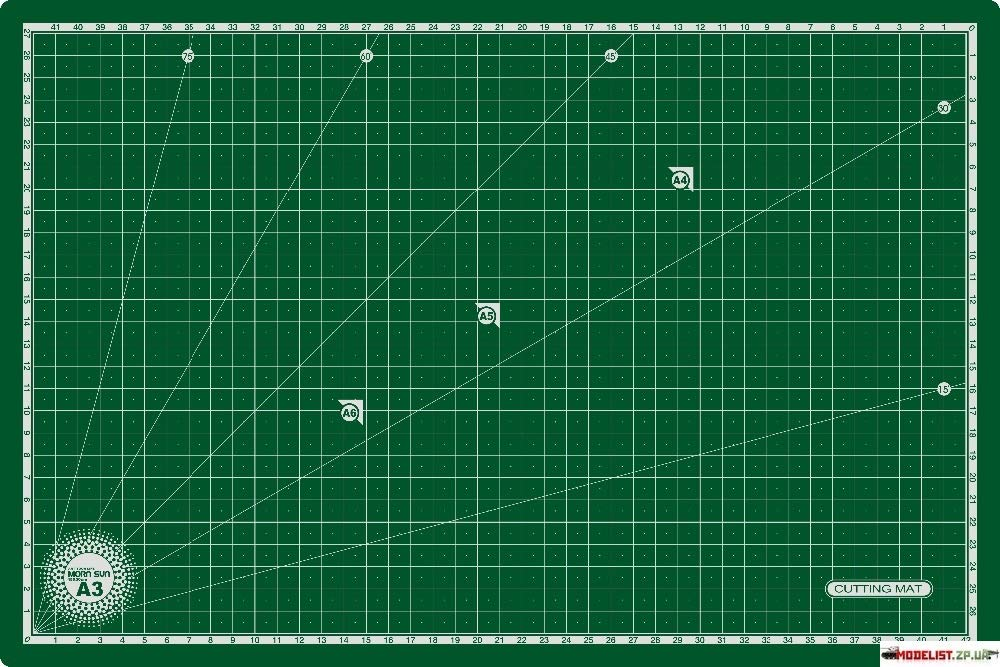 """Morn Sun Flexible Cutting Mat A/3 Size With Marked Pattern And Grids (18"""" X 12""""), Green product image"""