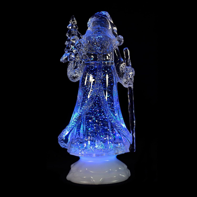 Mr Crimbo 33cm Santa Sleigh Scene Bright White LED Light Glitter ...
