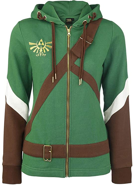 Oficial de mujeres de leyenda de Zelda Cosplay Link traje estilo sudadera con capucha