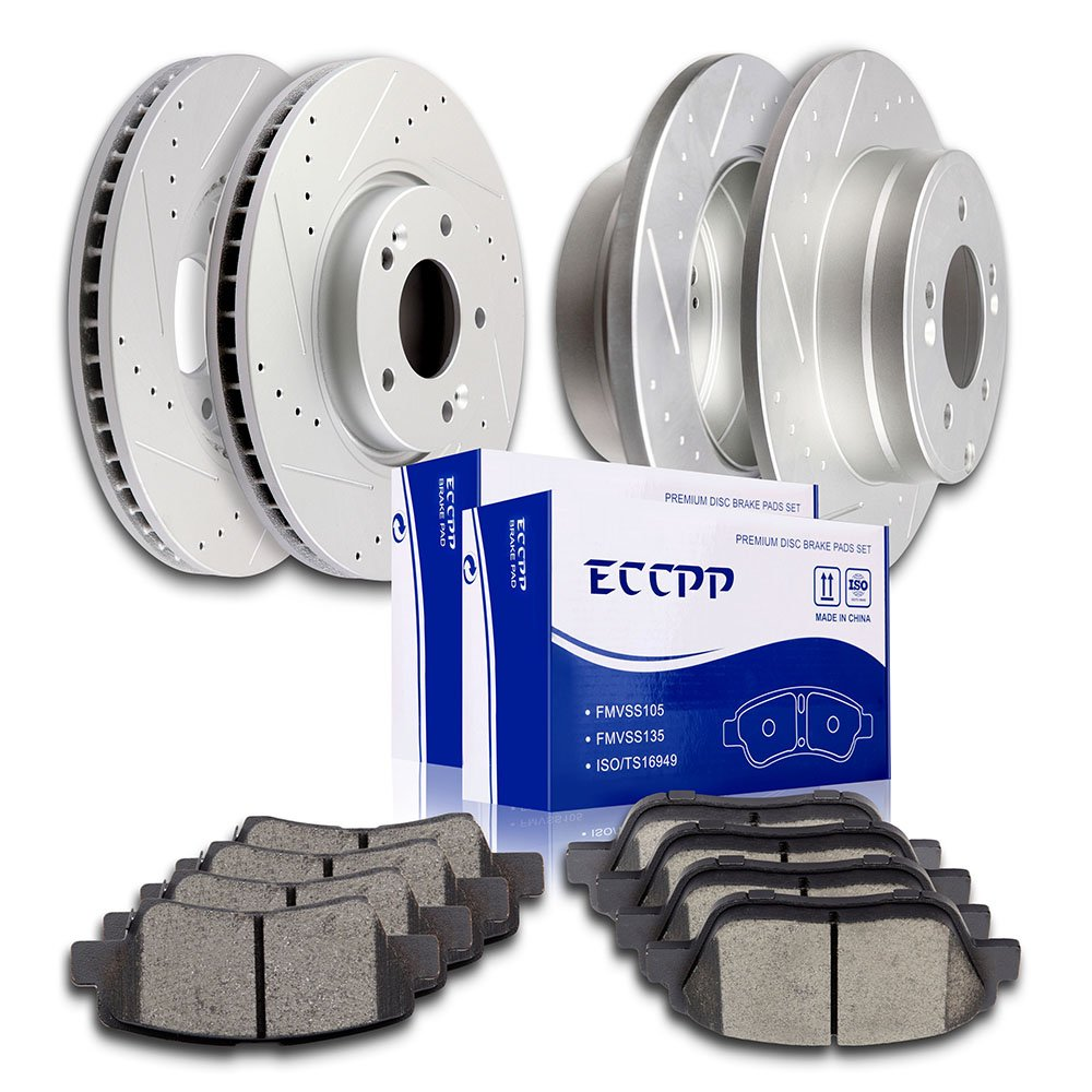 ECCPP Brake Kits, 2pcs Front Discs Brake Rotors and 4pcs Ceramic Disc Brake Pads Set for 2016 Kia Forte Koup 2011 2012 2014 Kia Optima Hyundai Sonata 807364-5211-1412591