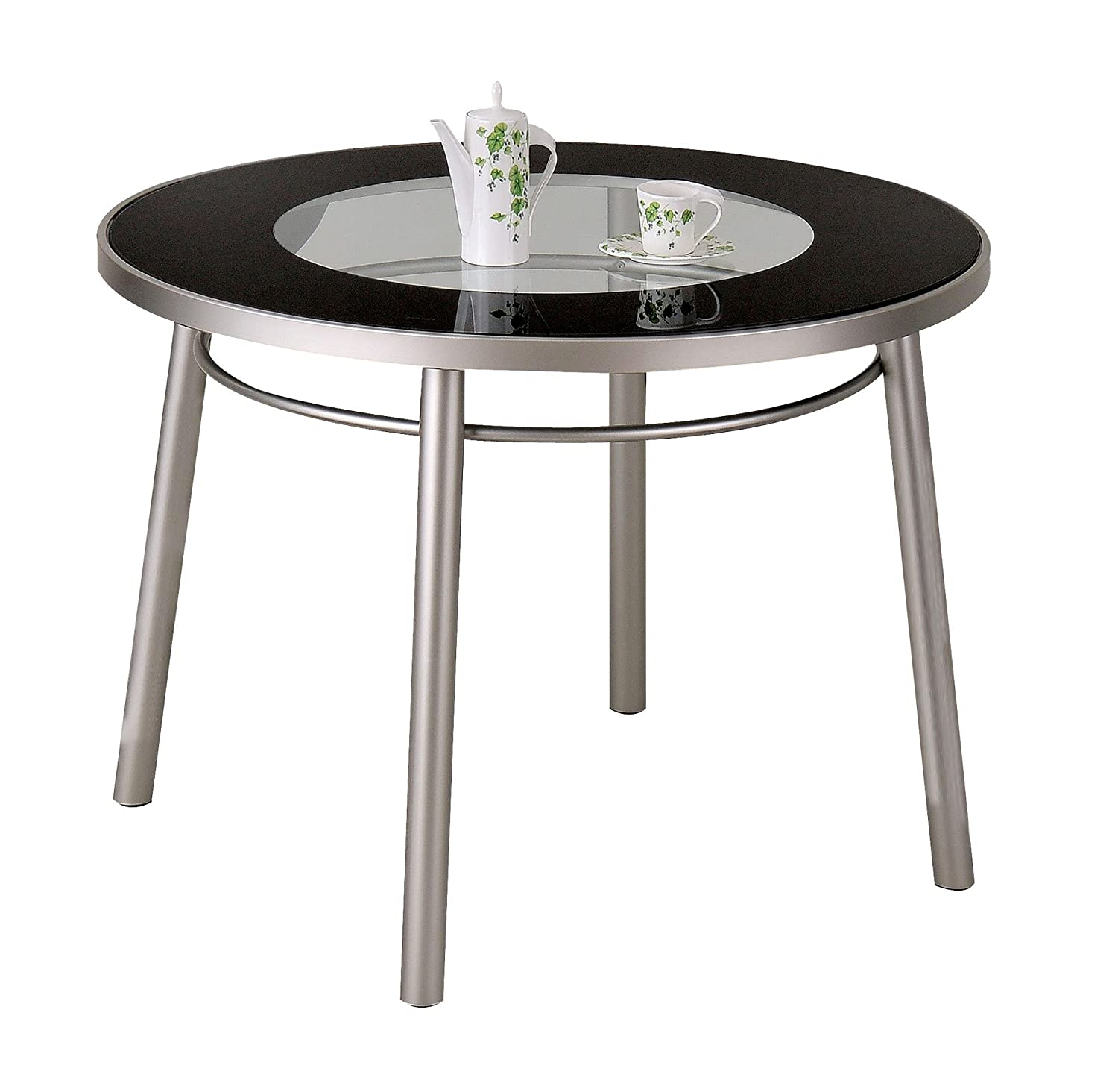 Round Table Madera.Amazon Com Acme 12120 Madera Dining Table With 8mm Print Glass Top