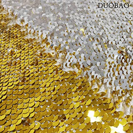 e5b80b949 Image Unavailable. Image not available for. Color  DUOBAO Gold to Silver Mermaid  Fabric by The Yard Two Tone Sequin Fabric Sequence Fabric Reversible