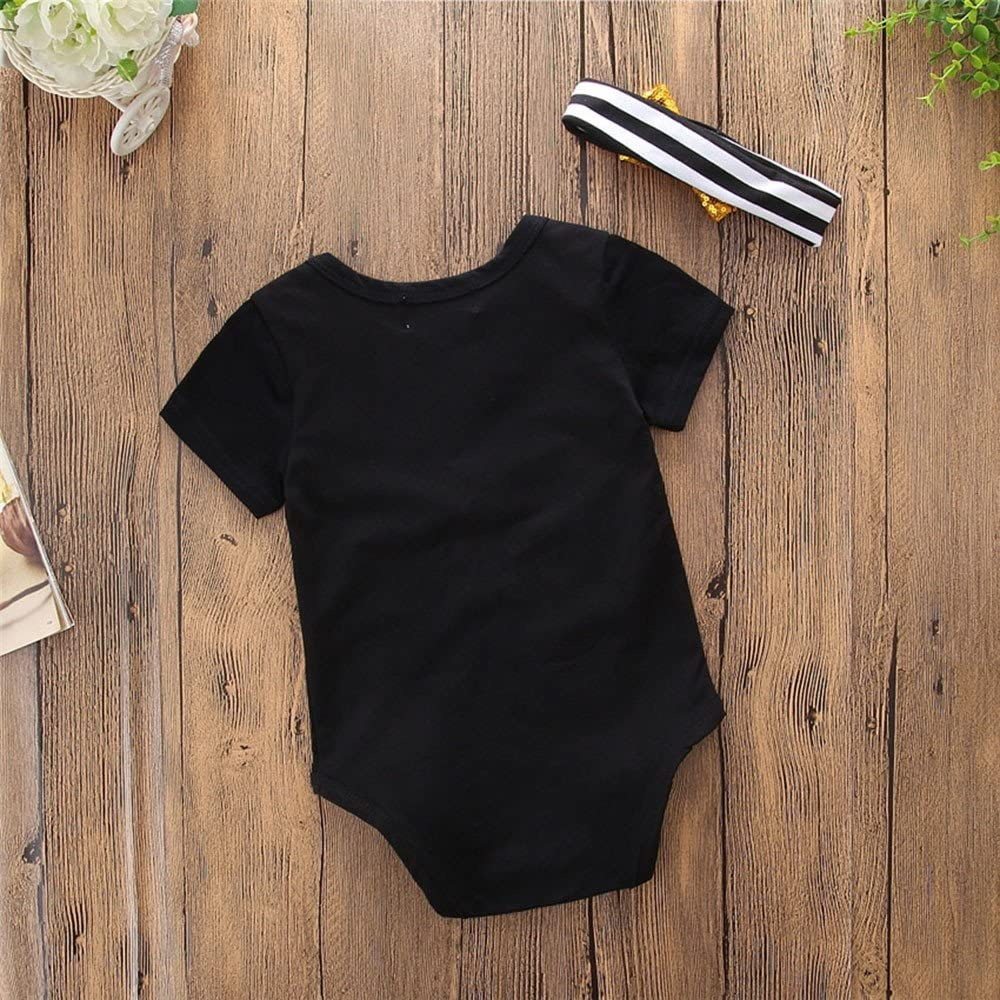 Cuekondy 3-18 Months Newborn Infant Baby Boy Girl Summer Outfit Clothes Letter Short Sleeve Romper Jumpsuit Headband Set