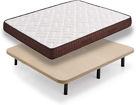 HOGAR24 ZR27- Colchón + Base tapizada con Patas, Medida 150x190 cm. Núcleo Alta Densidad Transpirable con Tejido 3D y Aloe Vera.