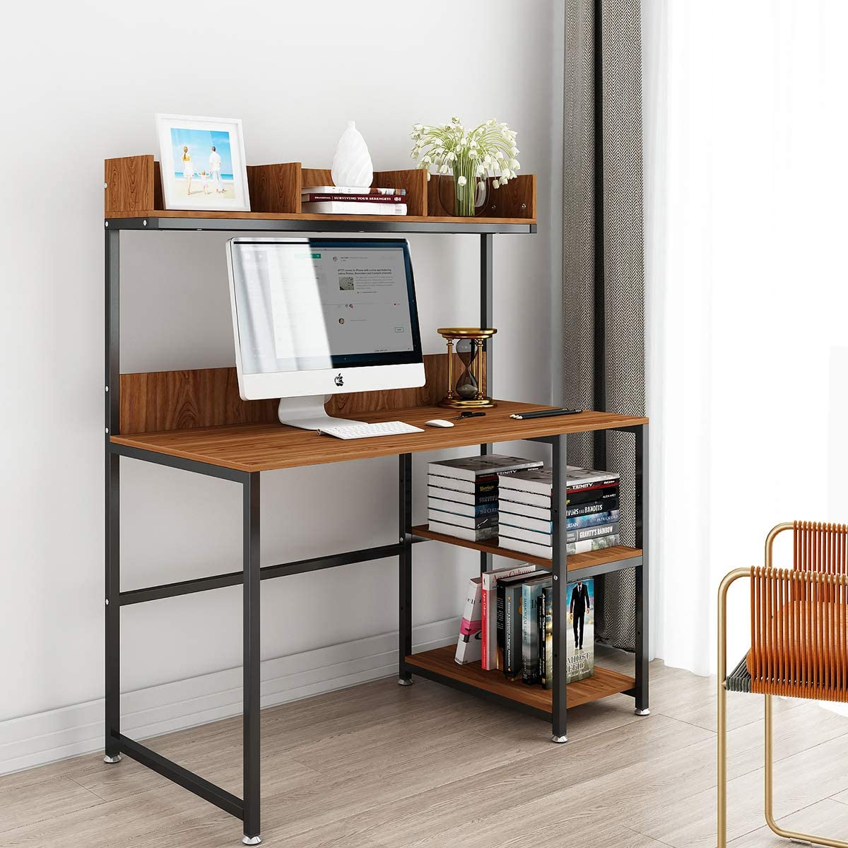 "Computer Desk with Storage Shelf 50"" Office Desk with Hutch and Storage  Shelf Gaming Desk Home Office Desk Writing Study Table Workstation with"