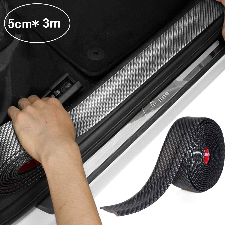 STYLINGCAR Protector de parachoques para umbral de puerta de coche fibra de carbono universal
