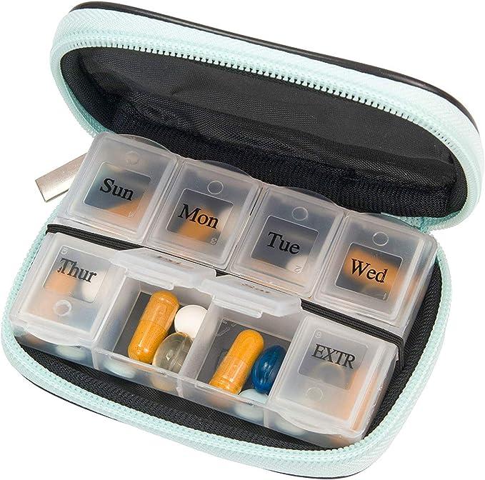 organizer per 7 giorni in neoprene Portapillole per vitamine e integratori