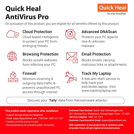 Quick Heal Antivirus Pro Latest Version - 2 PCs, 1 Year (Email Delivery in  2 hours- No CD)