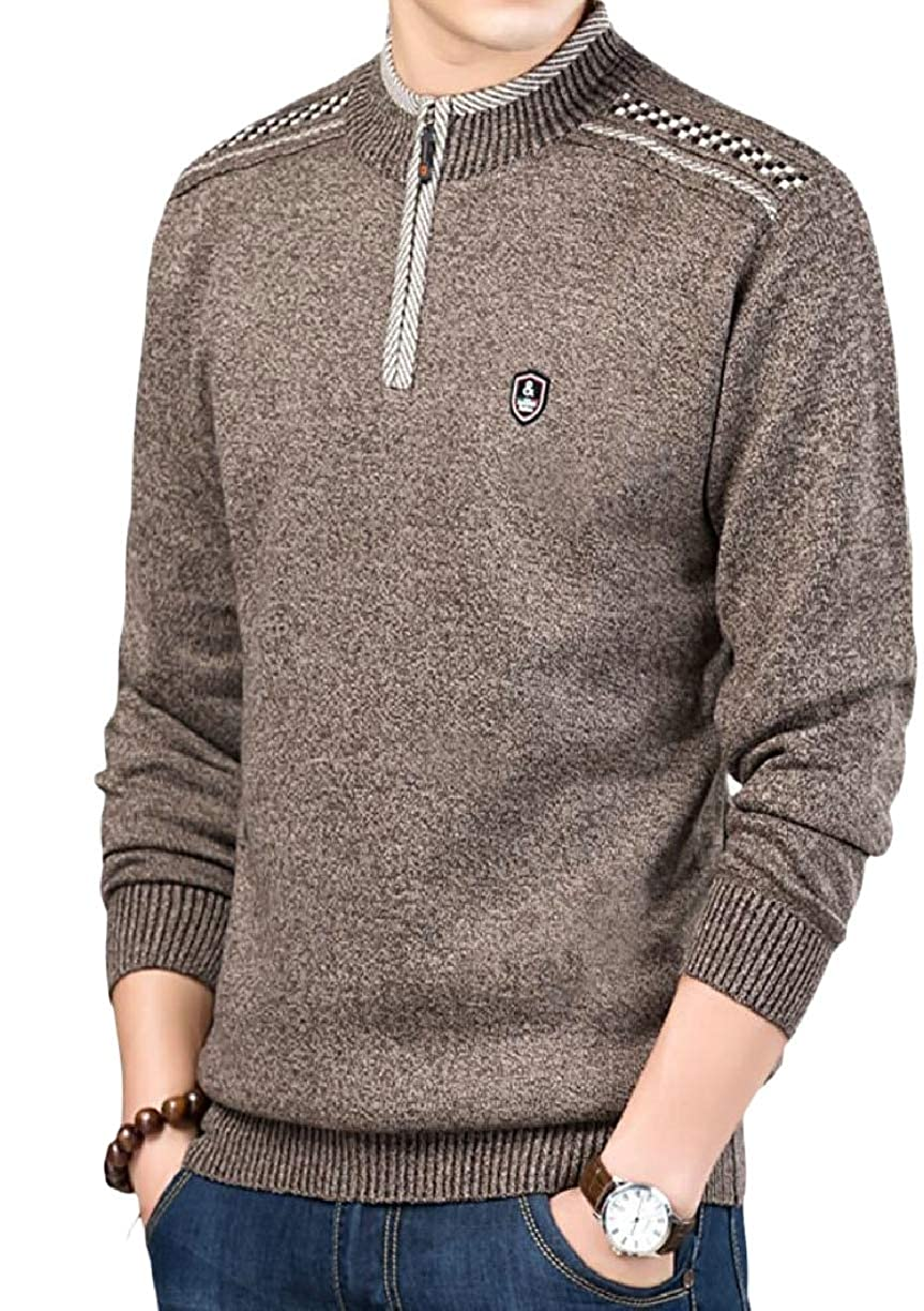 ZXFHZS Mens Print Pattern Knitted Solid Color Stand Collar Pullover Sweaters