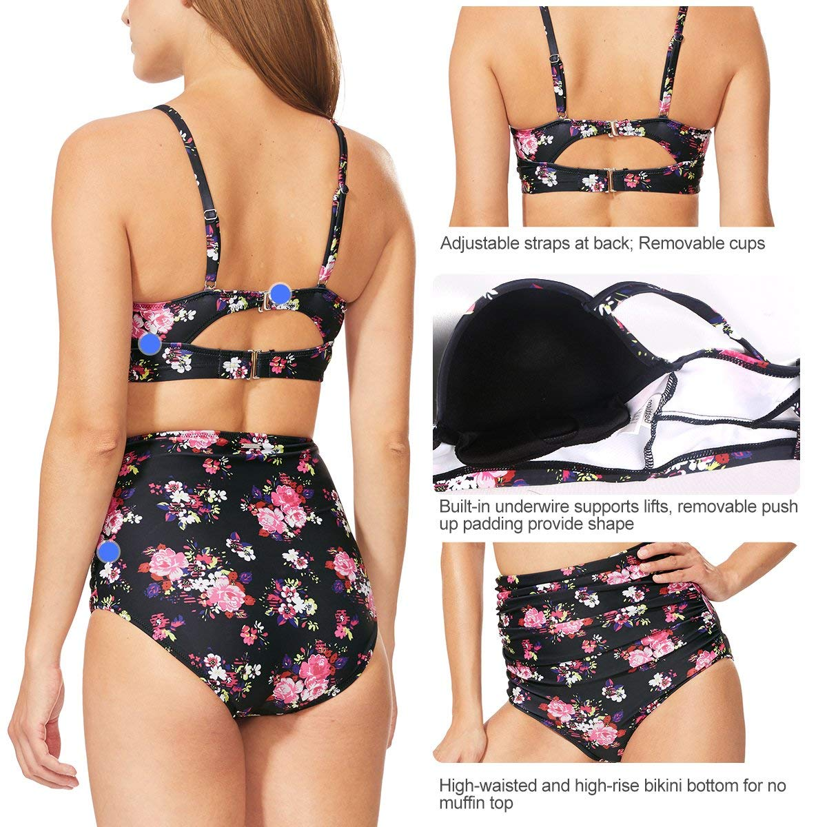 2ddde53c59f46 Amazon.com: Baleaf Women's High Waist Retro Floral Push Up Swimsuit Two  Piece Bikini Bottom: Clothing
