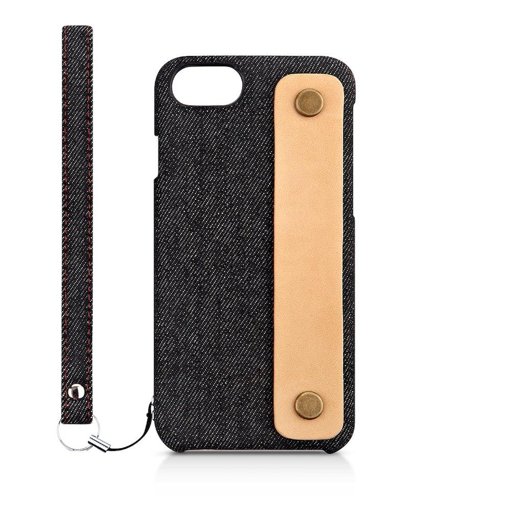 Simplism iPhone 7/6s/6 [NUNO] ファブリックケース 背面バンド ブラックデニム TR-NNBIP164-BKDM