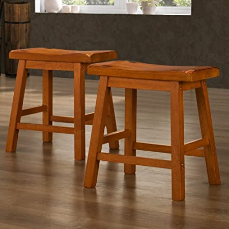 Weston Home 18 in. Saddle Back Stool – Oak- Set of 2