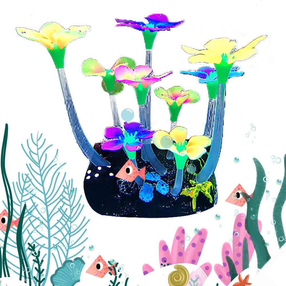 iHOMIKI Simulaci/ón Luminosa de la Planta Creativa 9 Peque/ña Flor en Forma de 1pc Fish Tank Paisaje de la decoraci/ón del Acuario Artificial de Agua de la Planta de la decoraci/ón
