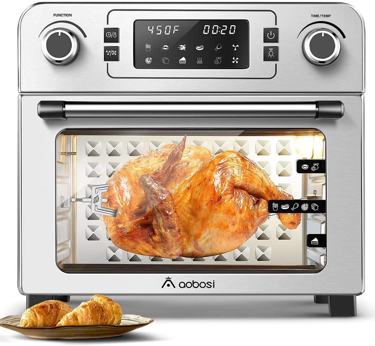Aobosi Toaster Oven Air Fryer Oven Toaster Convection Oven Digital Countertop Rotisserie Oven Pizza Oven 10-in-1 Multi-Function Toast/Roast/Broil/Bake/Dehydrate Large 24Qt Recipe 1700W 16x13x16