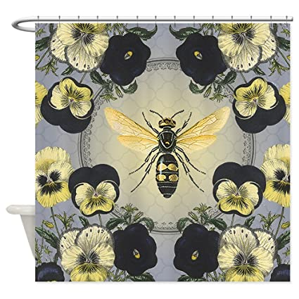 CafePress MODERN VINTAGE French Pansies And Bee Shower Curta Decorative Fabric Curtain 69quot