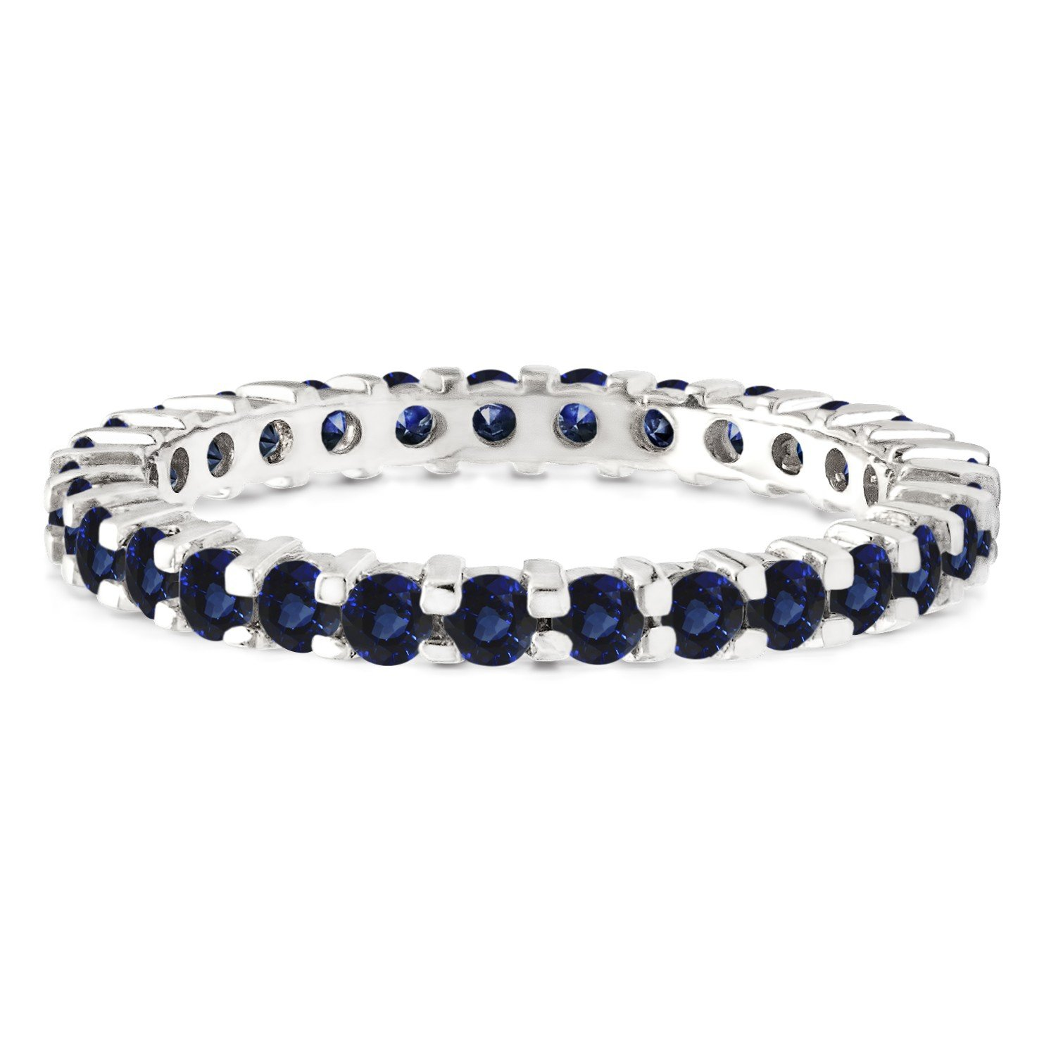 Stackable 1.7 mm Genuine Sapphire Set In Sterling Silver Double Shared Prong Eternity Ring