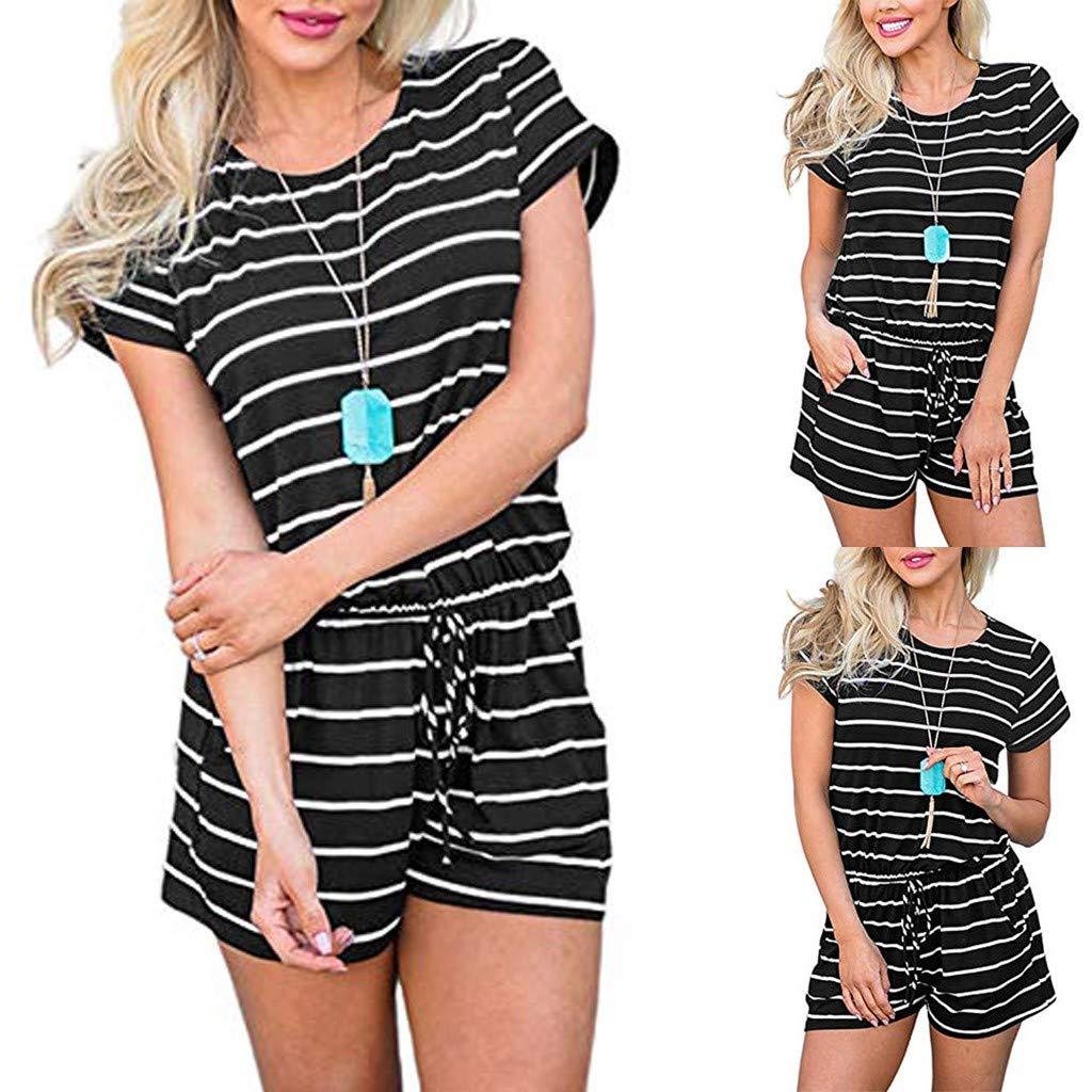 Womens Summer Striped Jumpsuit Casual Loose Short Sleeve Jumpsuit Rompers Elastic Waist Overalls with Pockets