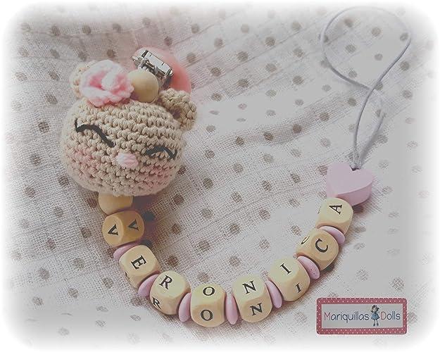 Chupetero Crochet PERSONALIZADO Conejita - letras de MADERA ...