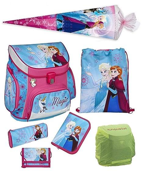 Familando Disney die Eiskönigin Schulranzen-Set 7tlg. Scooli Campus Up Frozen Magic mit Schultüte 85 cm, Federmappe und Regen