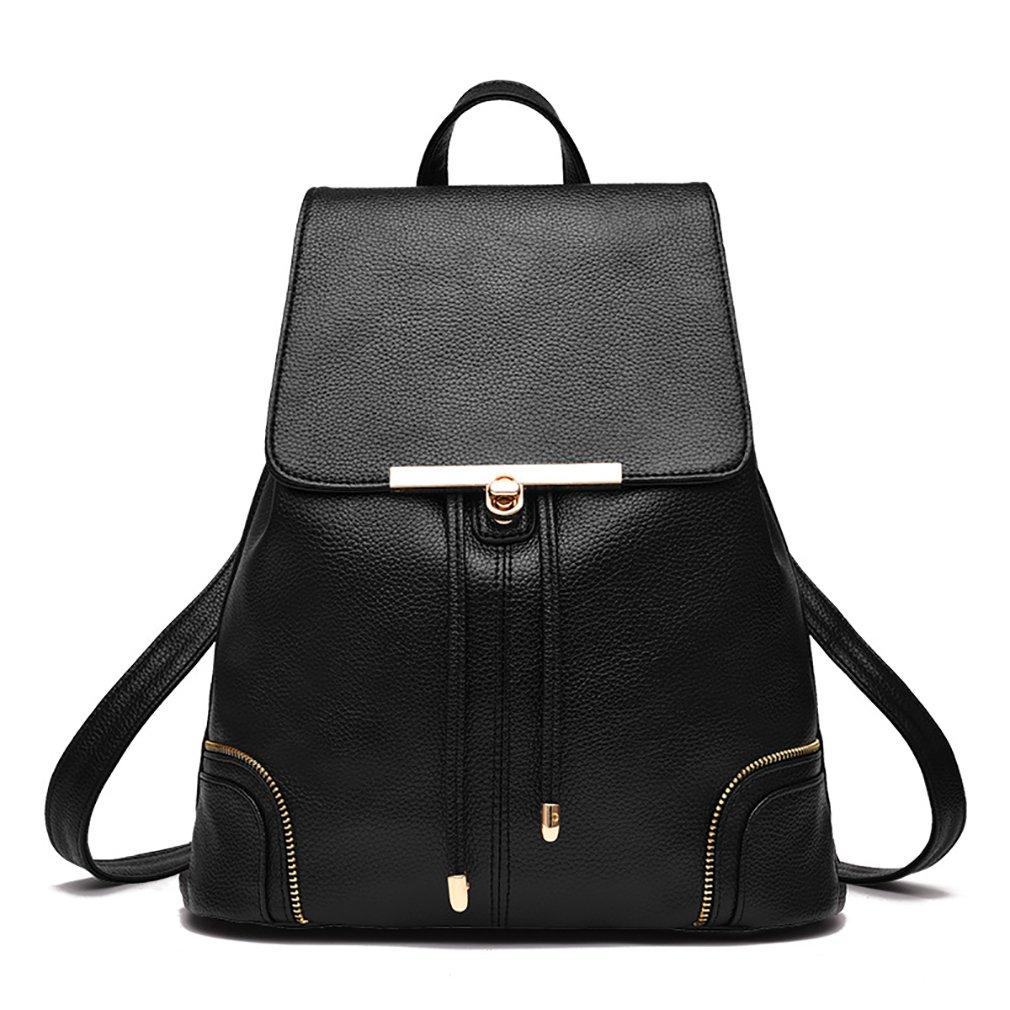 Amazon.com  JHVYF Women s Leather Backpack Fashion Lovely Drawstring Daypack  School Bag Shoulder Bag for Girls Black  Shoes 4c1b9c1d5a226