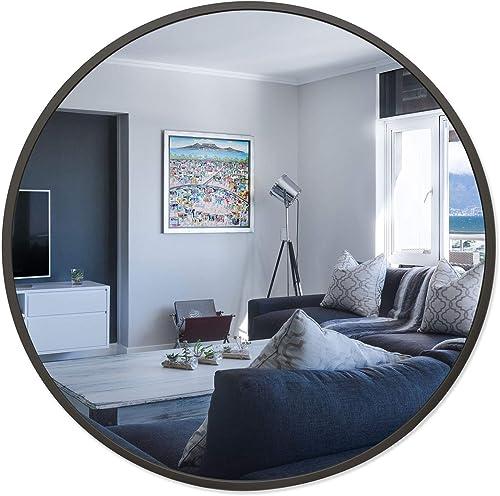 BEAUTYPEAK Circle Mirror Black 30 Inch Wall Mounted Round Mirror