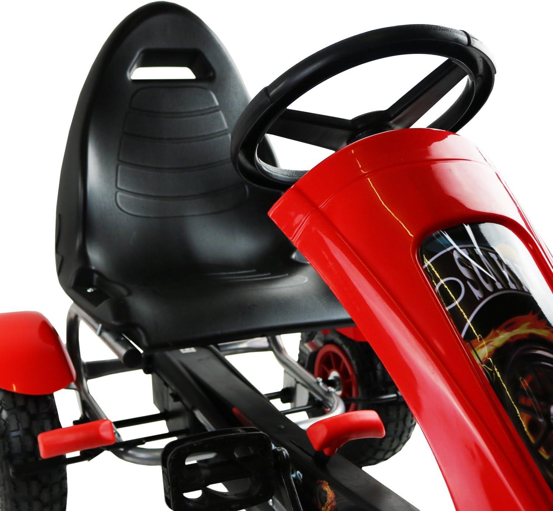 Oypla Deluxe Scherza Il Red Pedale Go Kart Ride On Garden Toy Rubber Wheels