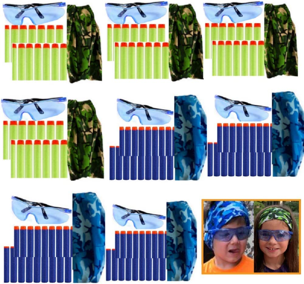 wishery Compatible with Nerf Party Supplies, Nerf Guns N - Strike Elite. 8 Kids - Nerf War Birthday Party Favors for Boys & Girls, Darts, Safety Glasses, Masks Pack for 2 Teams.