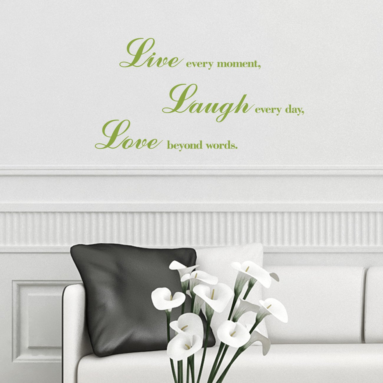 Decowall DWG-704A/_Olive Green Love Laugh and Live Graphic Stickers Kids Wall Decals Wall Stickers Window Stickers Peel and Stick Wall Stickers for Kids Nursery Bedroom Living Room