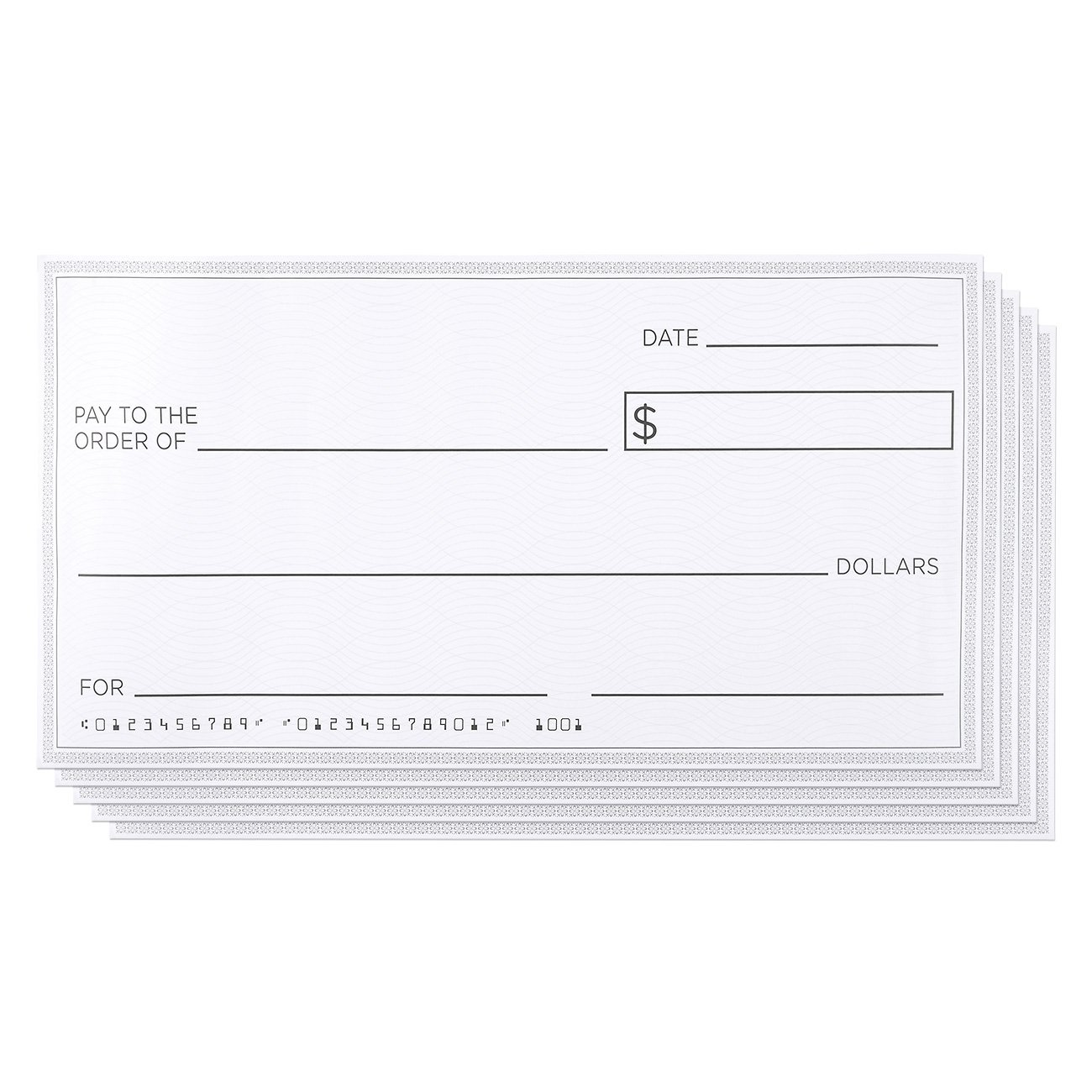Blue Panda Giant Checks - 5-Count Paper Giant Fake Novelty Checks, Large Presentation Checks for Endowment Award, Donations, and Fundraisers, Each Big Check Measures 30 x 16 Inches by Blue Panda