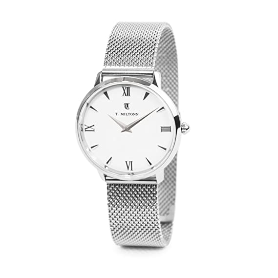 Reloj mujer extra-plate acero pulsera malla Milanaise acero: Amazon.es: Relojes
