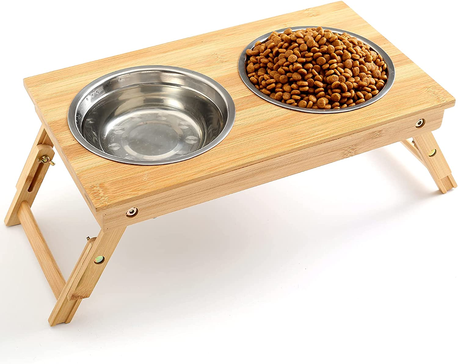 CYBMBO Raised Pet Bowls for Dogs and Cats, Adjustable Elevated Dog Bowls for Small and Medium Size Dog, Food Water Bamboo Feeder with Stand, 2 Bowls, Non-Slip, No Need Assemble (Height 5.12