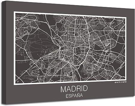 Cuadro Mapa Madrid Ciudad En Lienzo Canvas Impreso Decoración (Gris, 60 x 45 Cm Sin Bastidor): Amazon.es: Hogar