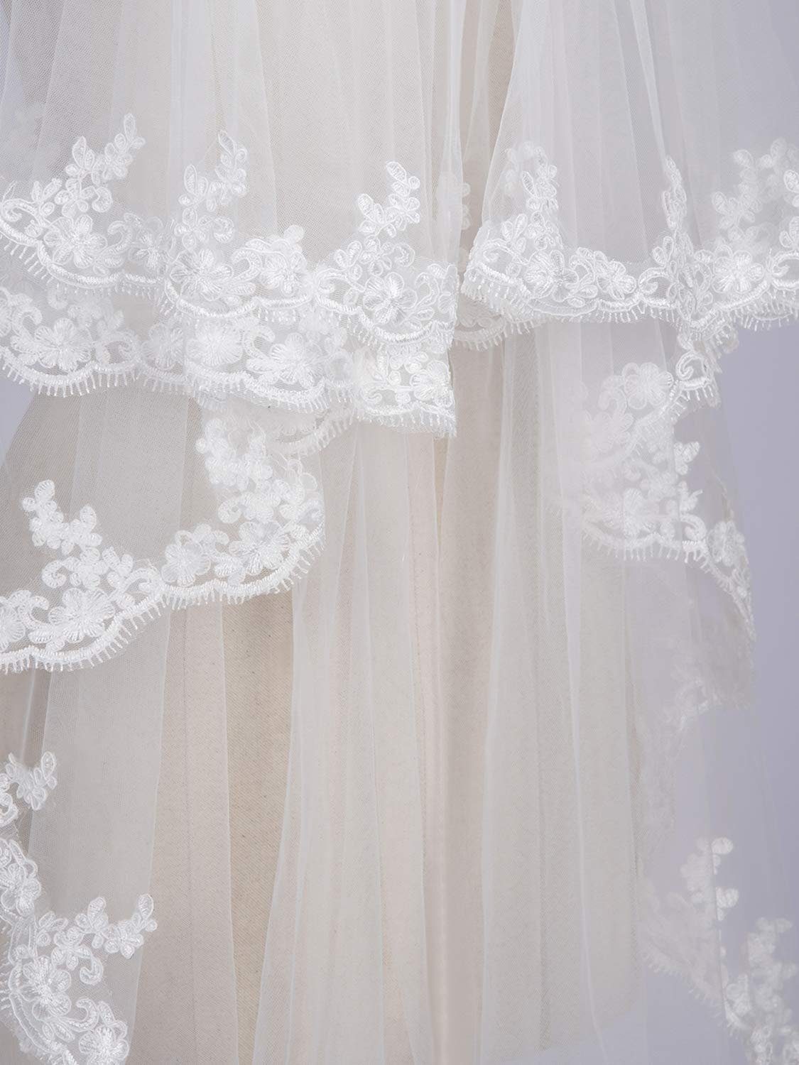 Women's Bridal Tulle Veils with Comb Lace Edge Wedding Veils for Bride,White by MisShow (Image #6)